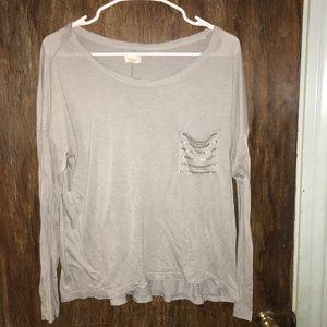 Aerie light gray beaded pocket top
